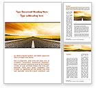 Cars/Transportation: Road Into the Sunset Word Template #09151