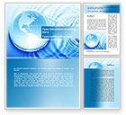 Global: Globe in Blue Colors Word Template #09236