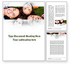 People: Happy Family On The Green Field Word Template #09239