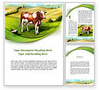 Agriculture and Animals: Cow On The Nature Word Template #09266