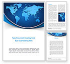 Global: Global Map In Blue Word Template #09373