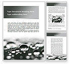 Nature & Environment: Water Drops in Black And White Word Template #09547