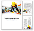 Construction: Builder On Construction Site Portrait Word Template #09566