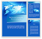 Global: Blue Earth Map Word Template #09672