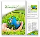 Nature & Environment: Earth In Hand Word Template #09678