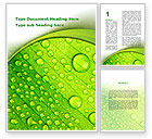 Nature & Environment: Green leaflet In Drops Of Dew Word Template #09733