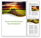 Agriculture and Animals: Arable Land At Sunset Word Template #09774
