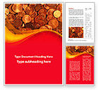 Financial/Accounting: A Pile Of Gold Coins Word Template #09847