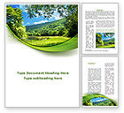 Nature & Environment: Meadow On The River Word Template #09863