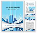 Business: Blue Cities Of The Future Word Template #09890