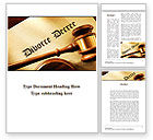 Legal: Divorce Decree With Gavel Word Template #09945