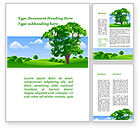 Nature & Environment: Lonely Tree On The Summer Meadow Word Template #09953