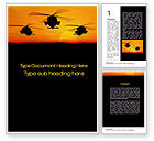 Military: Helicopters at Sunset Word Template #10662