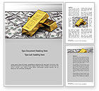 Financial/Accounting: Gold Bars on Dollars Word Template #10740