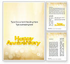 Holiday/Special Occasion: Happy Anniversary in Yellow Word Template #10799