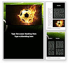 Sports: Football in Fire Flame Word Template #10931