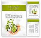 Nature & Environment: Green Bicycle Word Template #10932