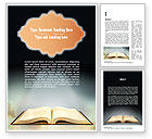 Religious/Spiritual: Open Bible with Light Rays Word Template #11265