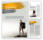 Sports: Woman Hiker with Backpack Word Template #11276