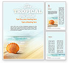 Nature & Environment: Shell On The Beach Word Template #11365