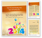 Holiday/Special Occasion: Colorful Happy New Year 2014 Word Template #11519