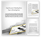Business: Glasses and Pen Resting on a Report Word Template #11710