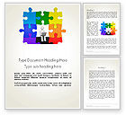 Business Concepts: Stickman Sitting on Puzzle Word Template #11741