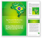 Flags/International: Brazil Flag Map with Football Field Word Template #12200