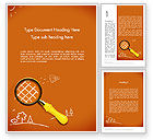 Education & Training: Racket with Magnifying Glass Word Template #12201