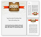 Holiday/Special Occasion: 2015 on Wooden Surface with Ribbon Word Template #12729