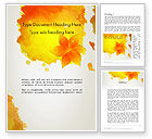 Art & Entertainment: Ink Watercolor with Yellow Leaves Word Template #12880