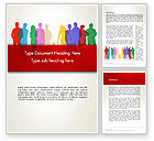 People: Colored People Silhouettes Standing Word Template #12915