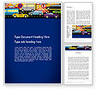 Cars/Transportation: City Traffic Illustration Word Template #12966