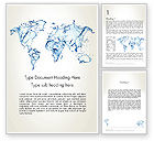 Global: Blue Water Splash World Map Word Template #13051