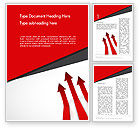 Business Concepts: Red Arrows Moving Up Word Template #13064