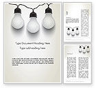 Careers/Industry: Three White Lamps in Garland Word Template #13071
