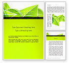 Nature & Environment: Green Neon Leaves Word Template #13235