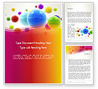 3D: Colorful Flying Spheres Word Template #13364