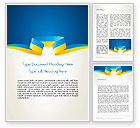 Abstract/Textures: Yellow-Blue Ribbon Word Template #13405