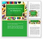 Education & Training: School Supplies Border Word Template #13519