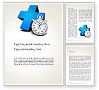 Consulting: Blue Medical Cross and Stopwatch Word Template #13572