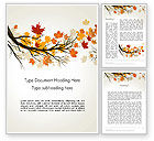 Nature & Environment: Maple Branch with Yellow Leaves Word Template #13578