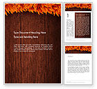 Nature & Environment: Wood Surface with Yellow Autumn Leaves Word Template #13582