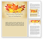 Nature & Environment: Bunch of Autumn Leaves Word Template #13658