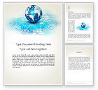 Telecommunication: Globe and Communication Word Template #13708