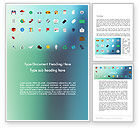 Business Concepts: Color Flat Icons Word Template #13717