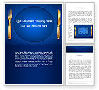 Food & Beverage: Gold Fork and Knife on Blue Cloth Word Template #13727