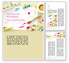 Art & Entertainment: Top View Artist Workplace Word Template #13788