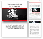 Business Concepts: Businessman Hand with Glowing Puzzle Pieces Word Template #13790
