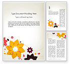 Nature & Environment: Colored Flowers in Flat Design Word Template #13894